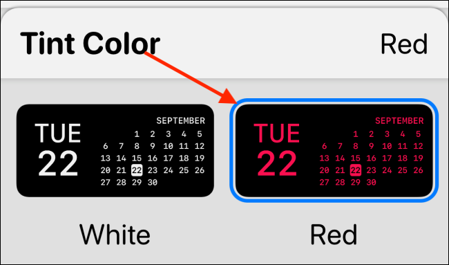 حدد Tint Color في Widgetsmith