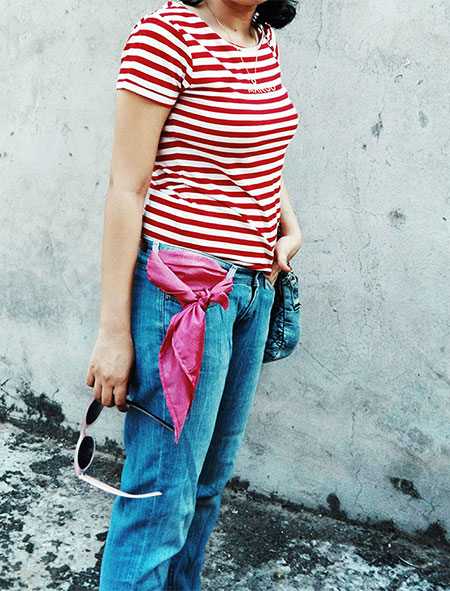 outfitinspiration,Mango womens Red Striped T-Shirt , Levi's womens Blue Denim, Zara White Slingback kitten heels
