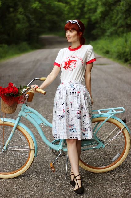 Bettie & Veronica Style Ringer Tee Charming Cotton Skirt Paris Bistro Print ModCloth