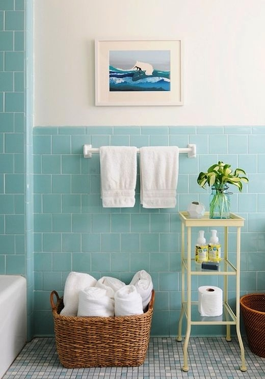 Pastel Blue Wall Tiles for Bathroom