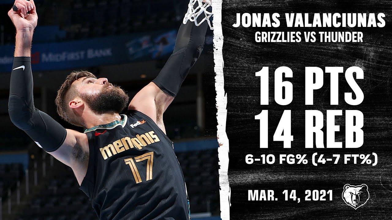 Jonas Valanciunas 16pts 14reb vs OKC   March 14, 2021   2020-21 NBA Season