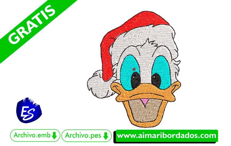 Pato Donald con gorro de navidad para bordar a máquina