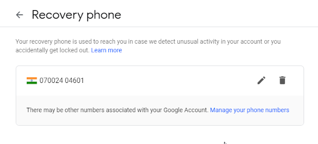 recovery phone number in google account