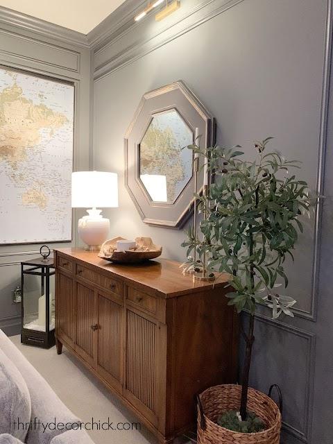Vintage wood dresser gray walls