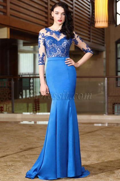 Blue Half Sleeves Lace Mother of the Bride Dress