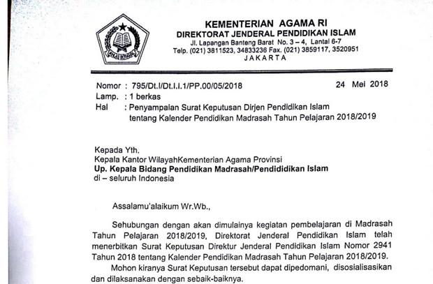 Kalender Pendidikan Madrasah Tahun 2018/2019