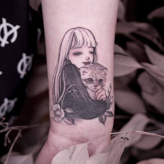 Anime Girl Tattoo sleeve