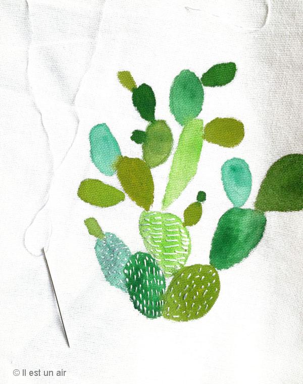Cactus peint et brodé en cours