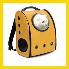 Dog Cat Pet Astronaut Capsule Carrier Backpack with Transparent Breathable Cover - Yellow