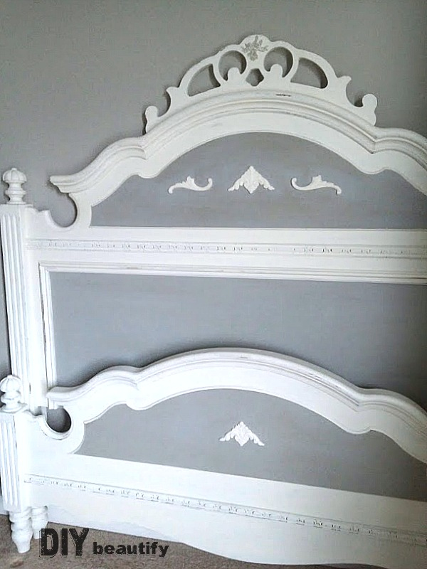 Fabulous painted bed makeover! I took my bed from Outdated 90's oak to gorgeous French Country! Get all the details at DIY beautify