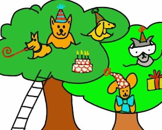 child drawing of dogs in a tree