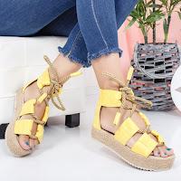 Sandale de vara galbene cu talpa groasa
