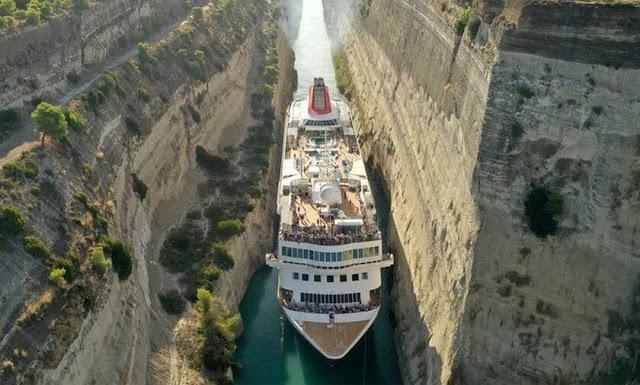 قناة كورنث في اليونان هي أصغر قناة مائية في العالم