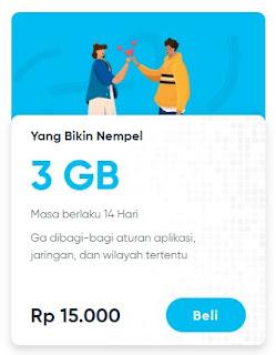 Paket data By.u Yang Bikin Nempel 3GB 15.000 Masa Aktif 14 Hari