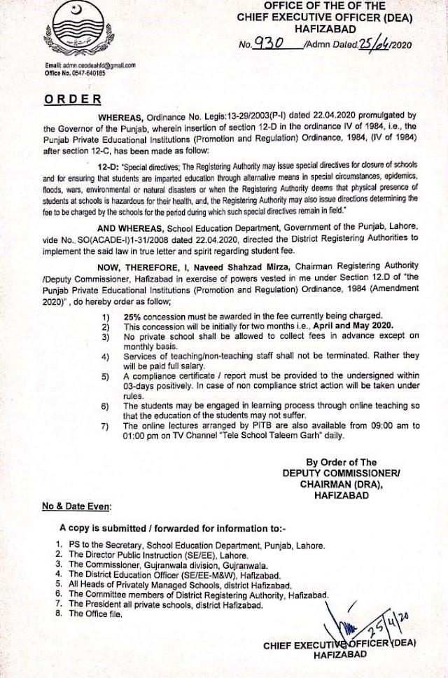 ORDER REGARDING 25% CONCESSION IN FEE IN PRIVATE SCHOOLS HAFIZABAD