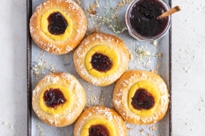 Custard Brioche Buns with Bonne Maman Mixed Berry Preserves and Vanilla bean Streusel