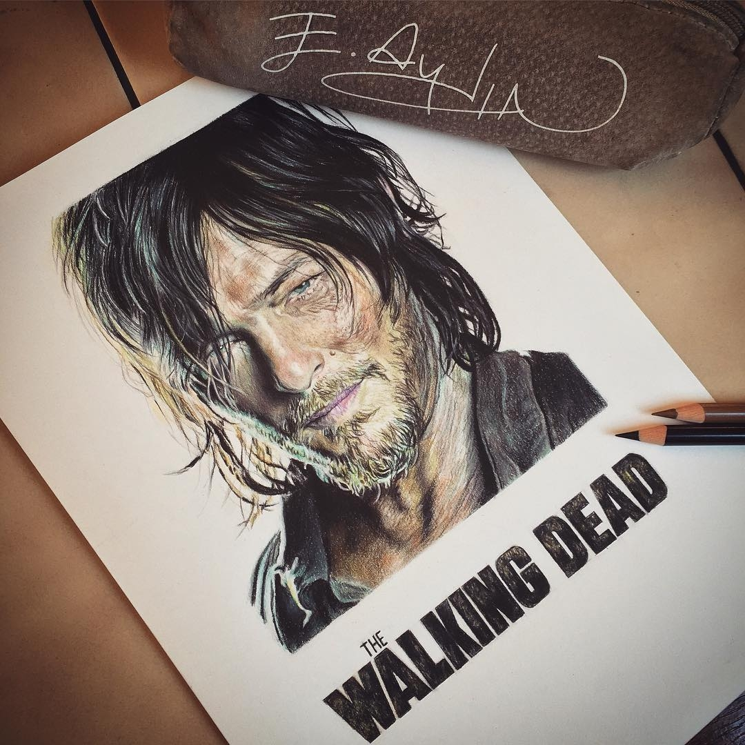 06-AMC-The-Walking-Dead-Daryl-Dixon-Emre-Aydin-Celebrity-Pencil-Drawings-in-Movies-and-TV-www-designstack-co