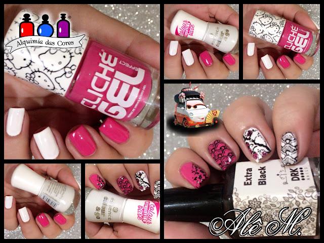 Cliché Gel, Hello Kitty 04, Rosa Chiclete, Branco, Essence, Wild White Ways, Sugar Bubbles, SB022, SB007, SB043, Extra Black DRK Nails, Alê M.