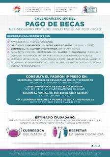 Calendario de pago de becas del ayuntamiento Benito Juárez (Cancún)