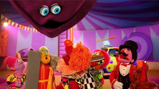 The Great In Betweeni, High Walking Heidi, Zowie Zown the Upside Down Clown, Elmo the Musical Circus the Musical, the ringmaster, Sesame Street Episode 4405 Simon Says season 44