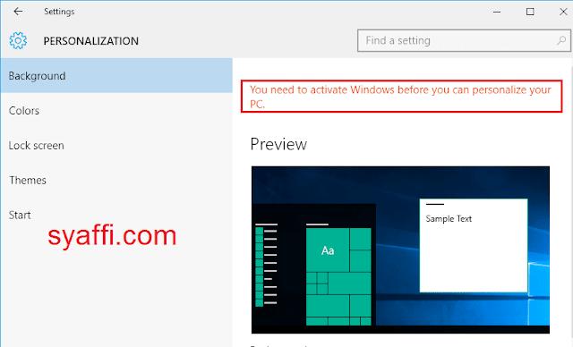 5. Perlu Aktivasi Windows sebelum ganti wallpaper