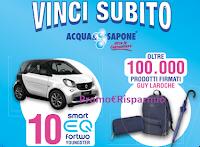 Logo Acqua&Sapone Vinci subito 2019: in palio 100.000 premi Guy LaRoche e 10 Smart Fortwo