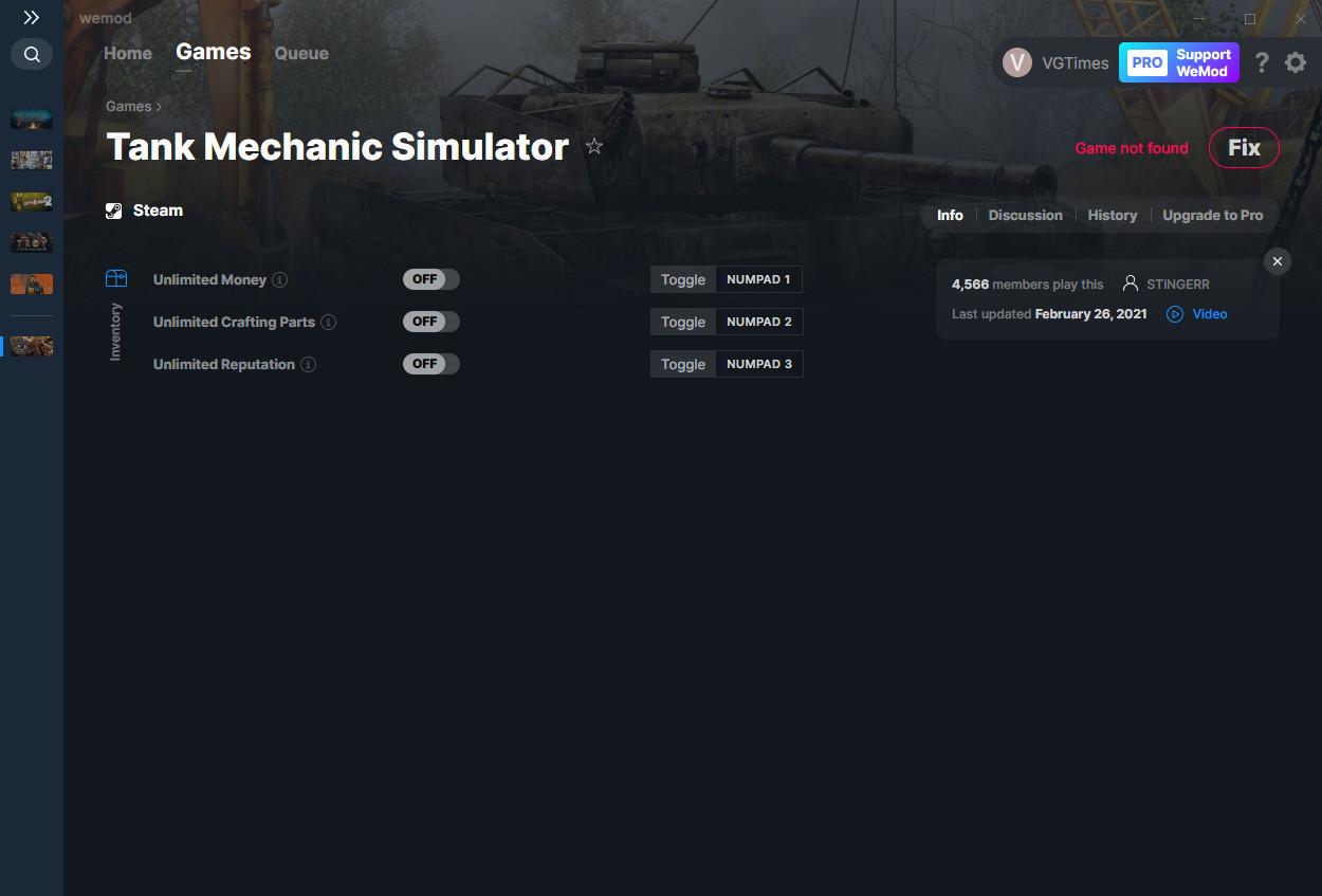 Tank Mechanic Simulator: Trainer (+3) from 02/26/2021 [WeMod]