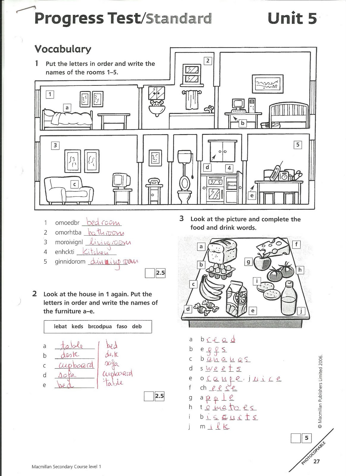 English 1st ESO: Unit 5 test standard