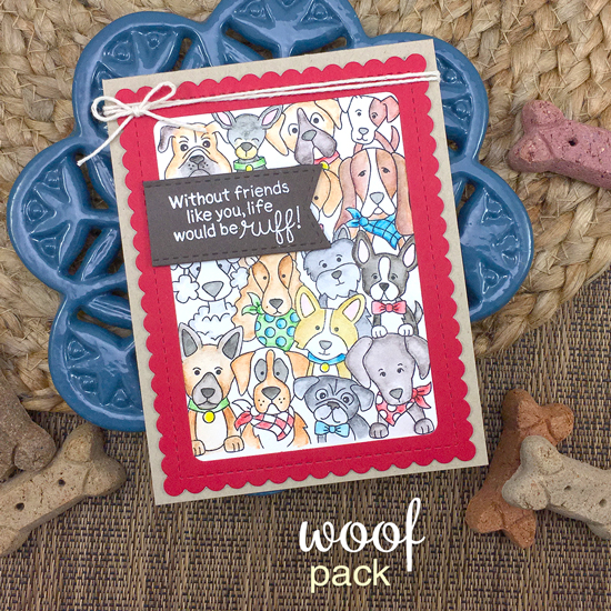 Crowd of Dogs card by Jennifer Jackson | Woof Pack Stamp Set and Frames & Flags die set by Newton's Nook Designs #newtonsnook