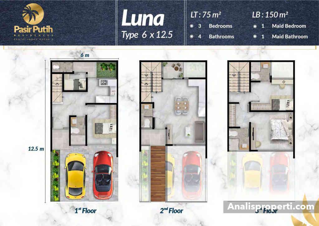 Denah Rumah Villa Pasir Putih 1 Tipe Luna