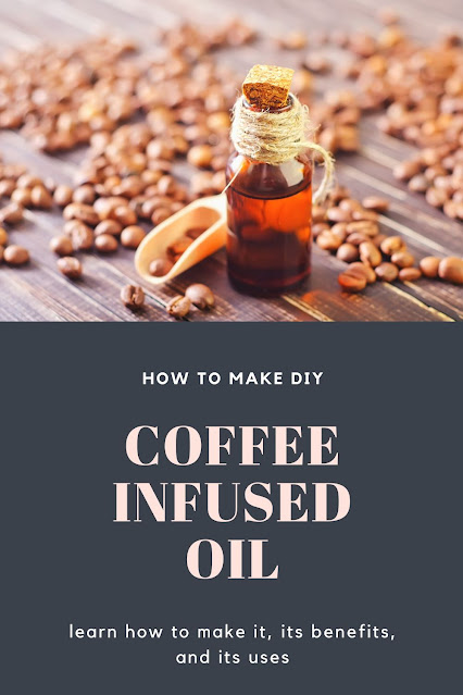 How to make coffee infused oil. Use your homemade coffee oil for eye creams, hair growth, and DIY bath and body recipes. Use your coffee oil alone or in recipes uses like soap or lotions. Coffee oil has many benefits for hair and for skin.  Make DIY coffee infused oil for natural skin care and natural hair care.  #coffeeoil #naturalbeauty #coffeeinfusedoil