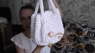 сумка крючком из трикотажной пряжи