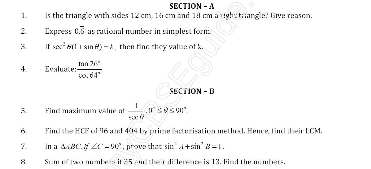 Study notes for Delhi Public school: Maths Sample Paper 2