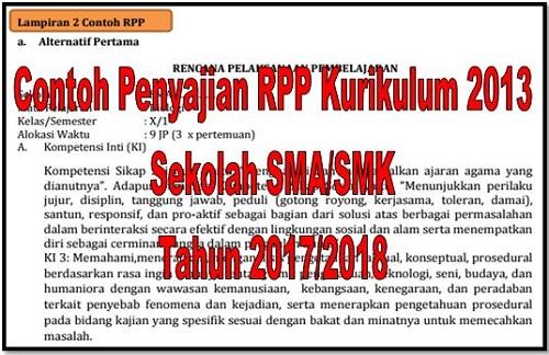 Contoh Penyajian RPP Kurikulum 2013 Sekolah SMA/SMK Tahun 2017/2018