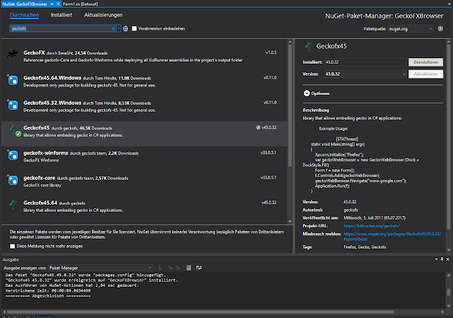 NuGet install GeckoFX