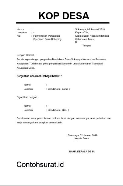 Contoh Surat Permohonan Perubahan Tanda Tangan Cek Gampong