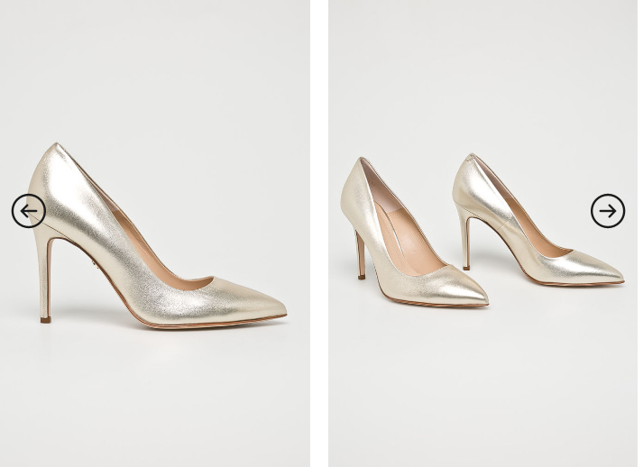 Solo Femme - Pantofi cu toc aurii din piele naturala