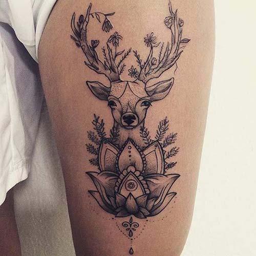 kadın üst bacak geyik dövmesi woman thigh deer tattoo