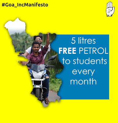 Goa Elections 2017: Congress Promises Free 5 Litres Of Petrol To Students Per Month