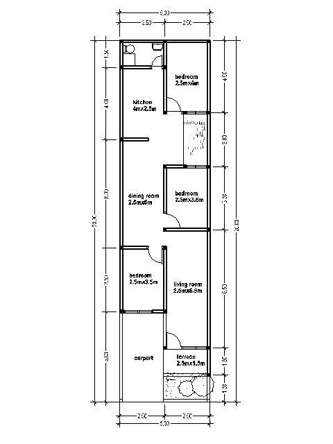House Plans 5mx20m House Affair