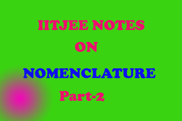Nomenclature Notes