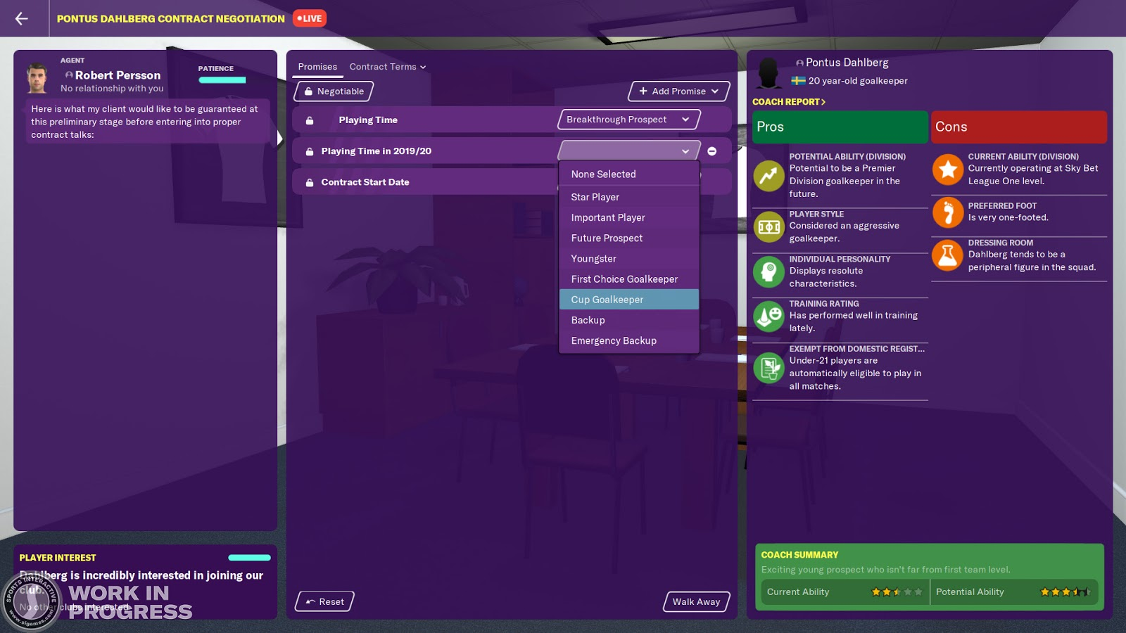 A goalkeeper's contract options in Football Manager 2020