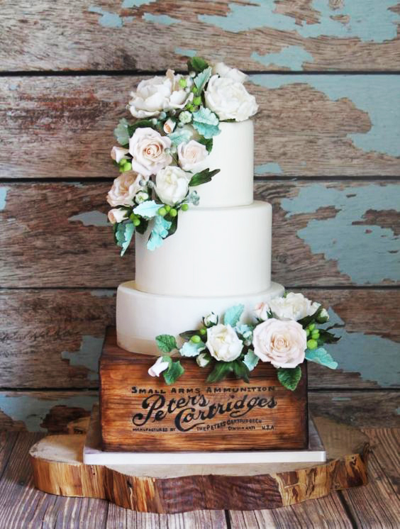 Two Tiers Tulip Wedding Cake Couple Three Rustic