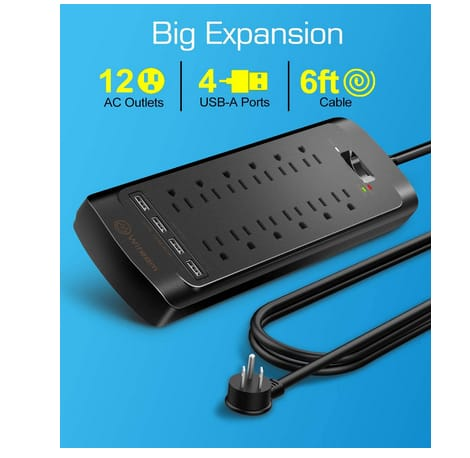 Witeem 12 Outlets Power Strip and 4 USB Charging Ports