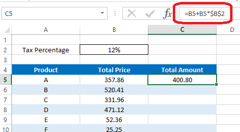 Add formula using both absolute and relative reference