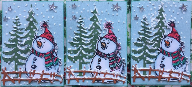 Stamped Snowman ATC card