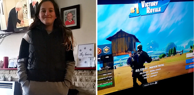 My youngest ready to go out and my fella playing Fortnite.