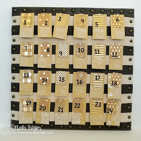 Advent Calendar by Nakaba Rager | Tags Times Two Die Set, Essential Alphabet Die Set and various stamps by Newton's Nook Designs  #newtonsnook #handmade