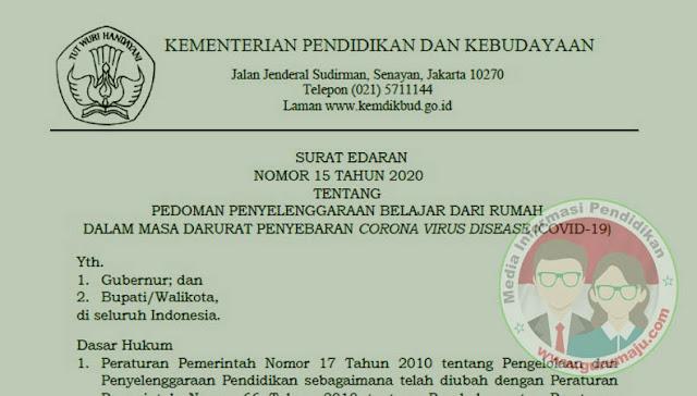 Surat Edaran Sekjen Kemendikbud No 15 Tahun 2020