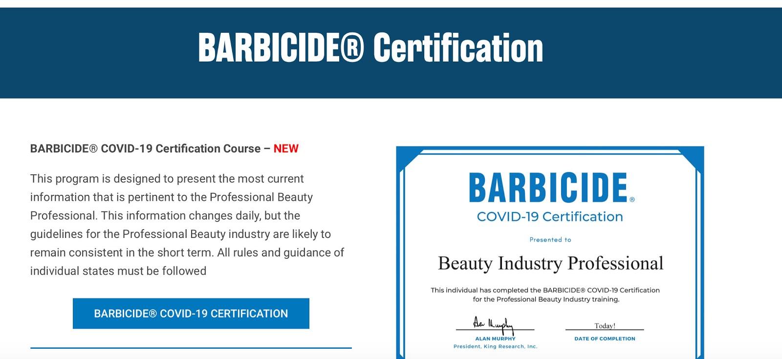barbicide covid certification course salon passed